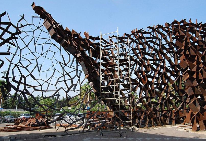 toti semerano constructs an irregular corten steel