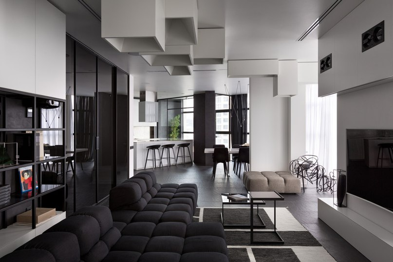 Часть 2. Чёрно-белая квартира для молодой пары Архитекторы