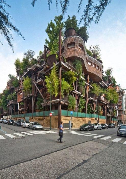 Дом, «одетый» в зелень.  Отличительной чертой мегаполисов является