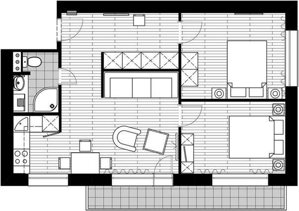 Интерьер квартиры 56 кв м