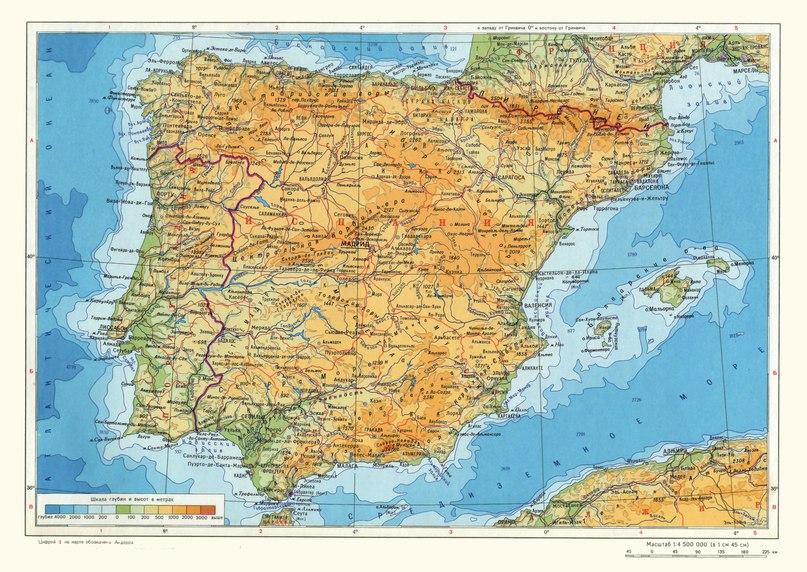 Физическа карта на Испания и Португалия