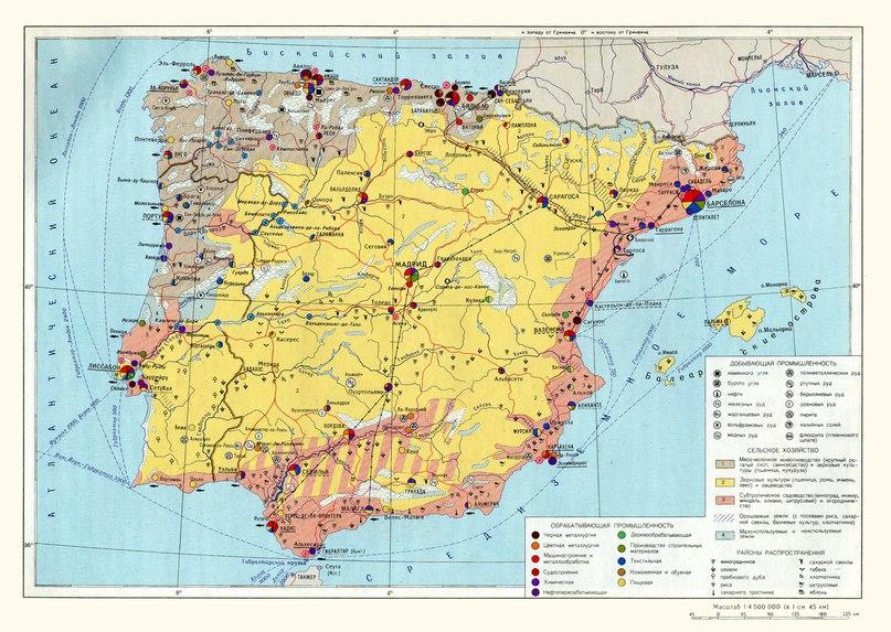 Икономическа карта на Испания и Португалия