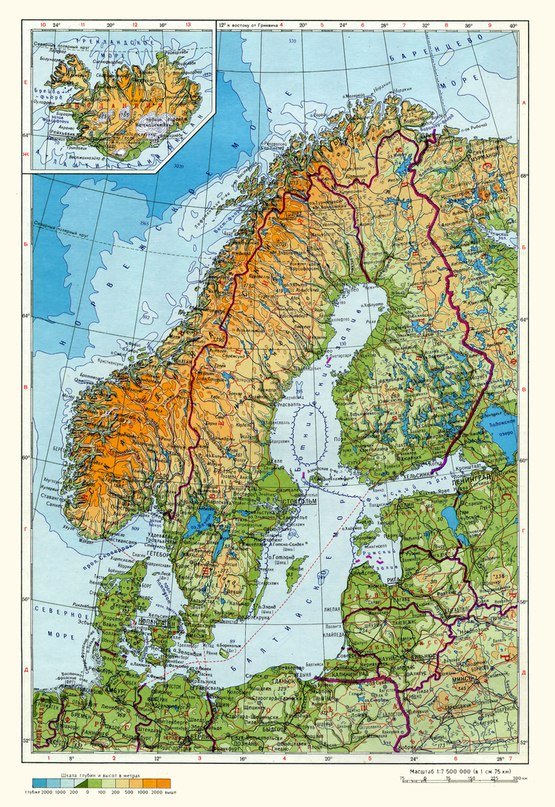 Физическа карта на Скандинавския полуостров