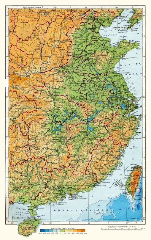 Физическа карта на източен Китай