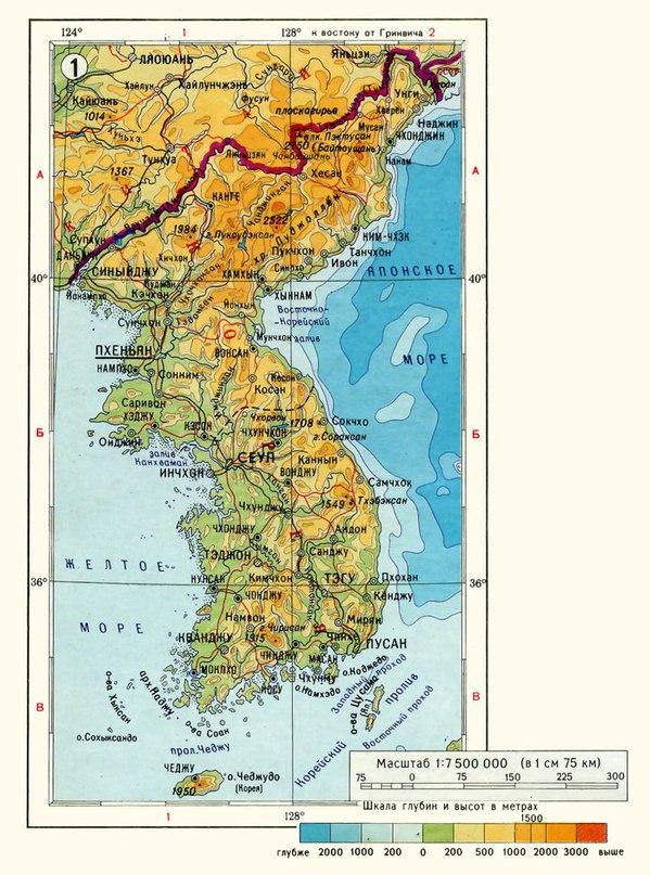 Физическа карта на Корея