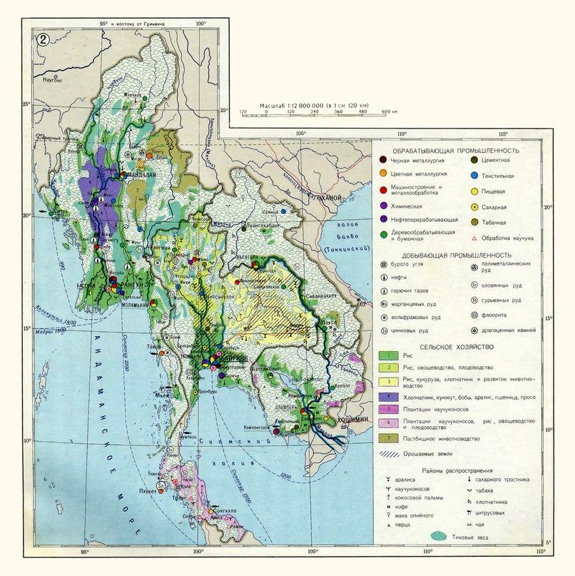 Икономическа карта на страните от п-ов Индокитай