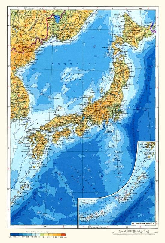 Физическа карта на Япония