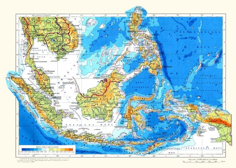 Физическа карта на Индонезия, Филипините и Малайзия