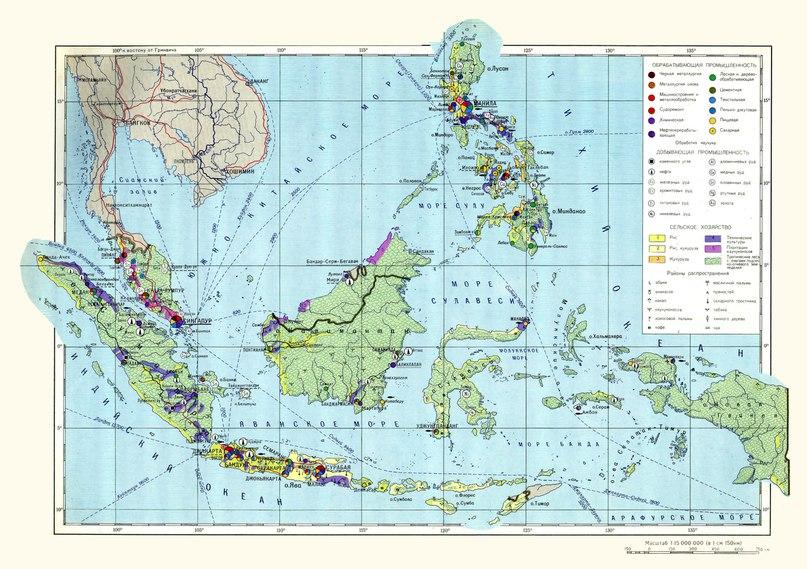 Икономическа карта на Индонезия, Малайзия и Филипините