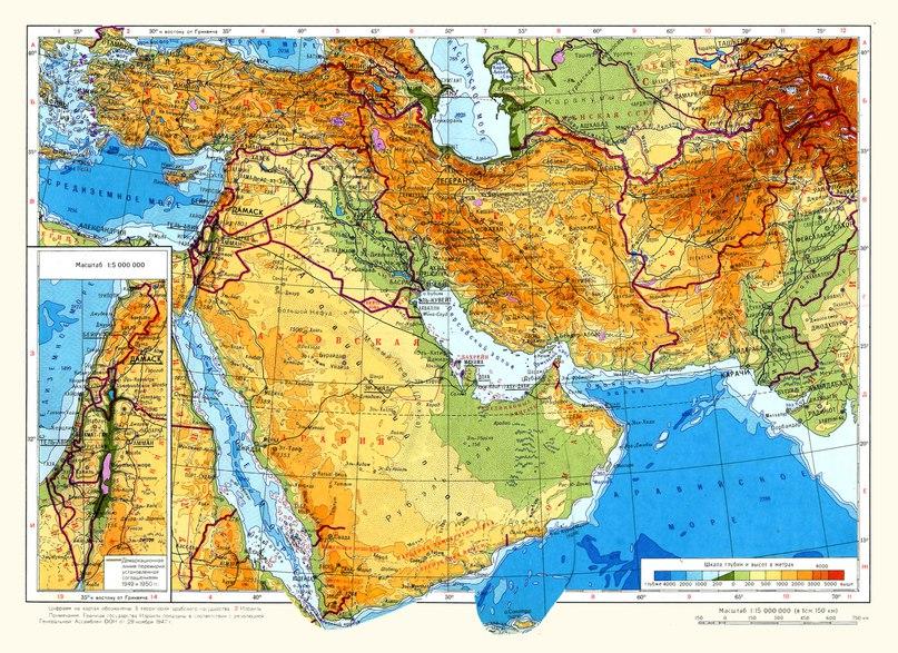 Физическа карта на Близкия изток