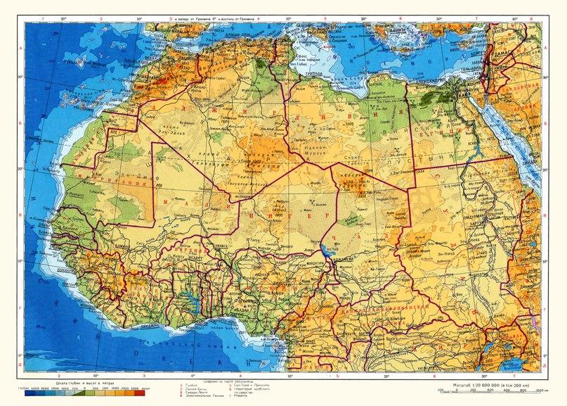 Физическа карта на северна Африка