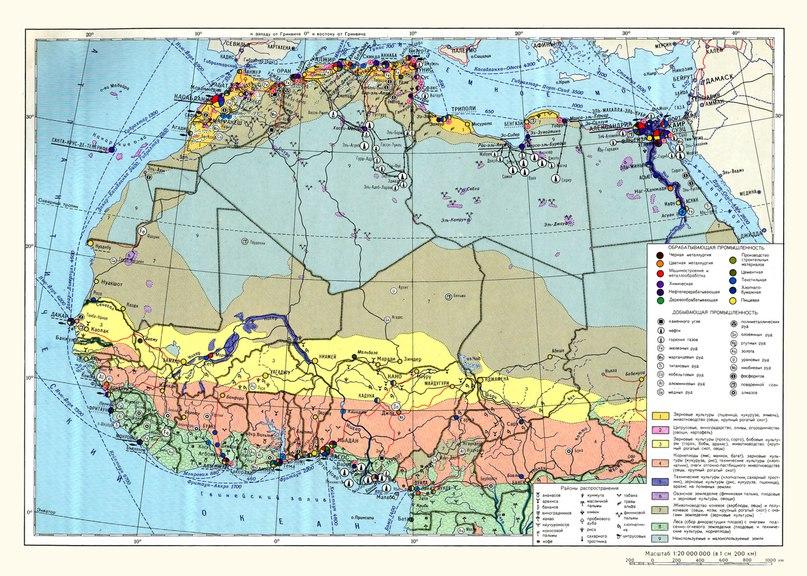 Икономическа карта на държавите от северна Африка