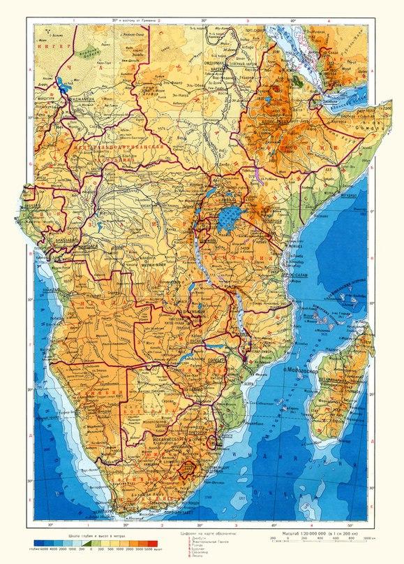 Физическа карта на южна Африка
