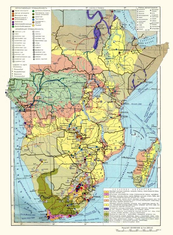 Икономическа карта на държавите от южна Африка