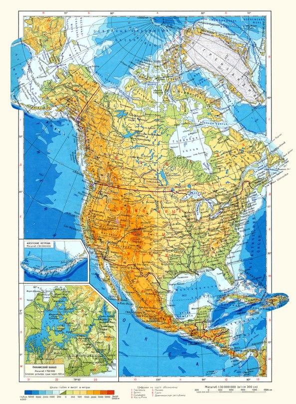 Физическа карта на северна Америка