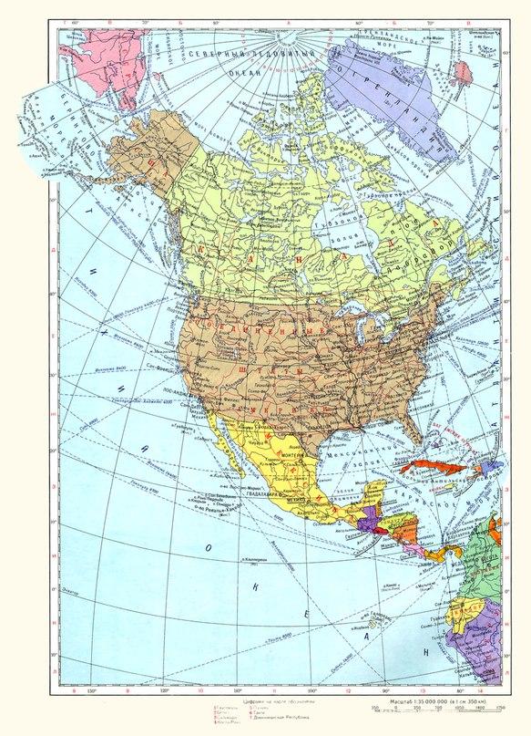 Политическа карта на северна Америка