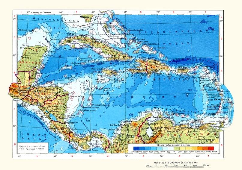 Физическа карта на централна Америка