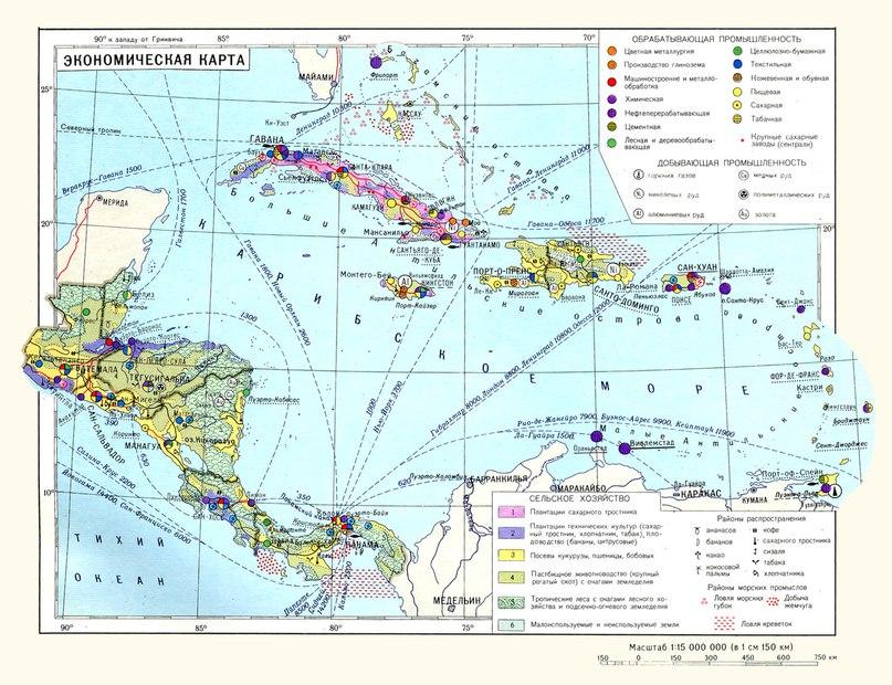 Икономическа карта на централноамериканските държави