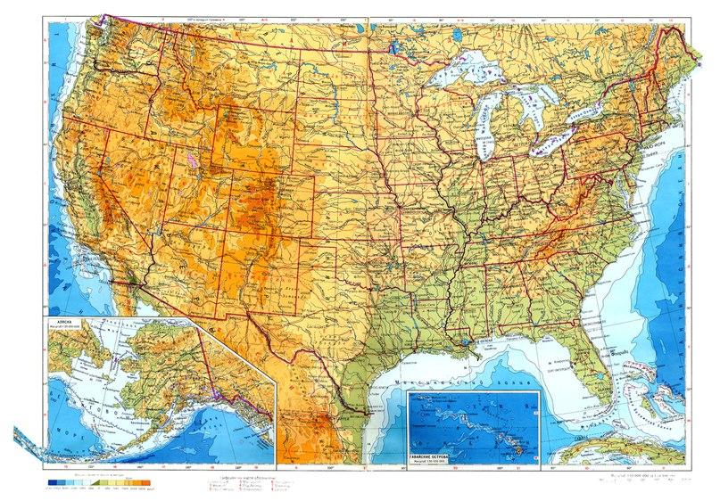 Физическа карта на САЩ
