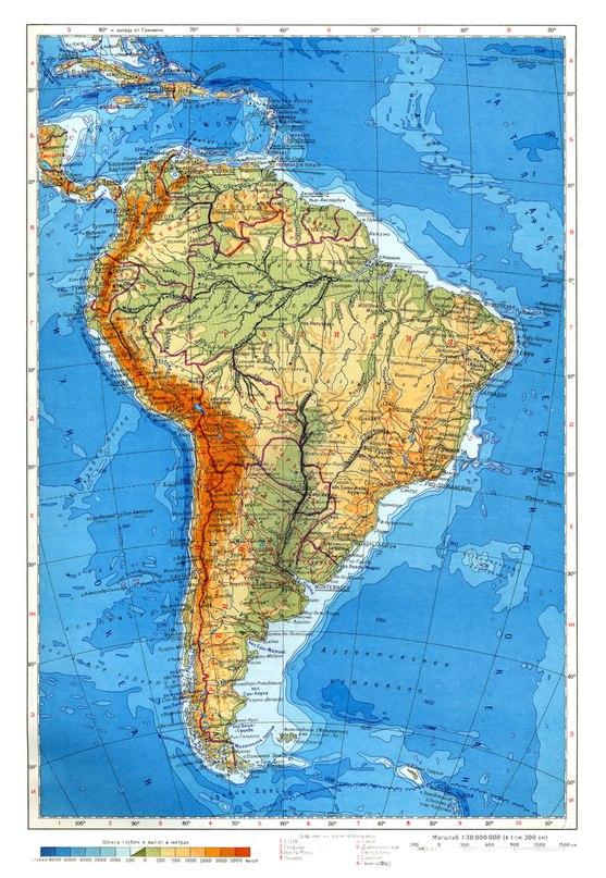 Физическа карта на южна Америка