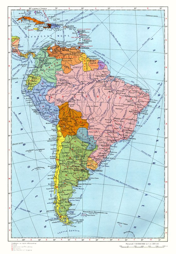 Политическа карта на южна Америка