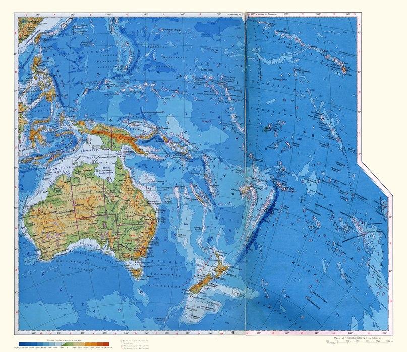 Физическа карта на Австралия и Океания