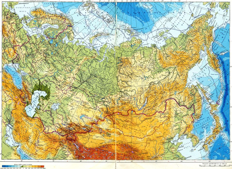 Физическа карта на СССР