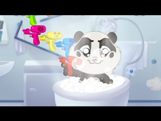 Learn Colours  Animals with Color Water Gun Toys for Kids _ Panda Bo Bath Time