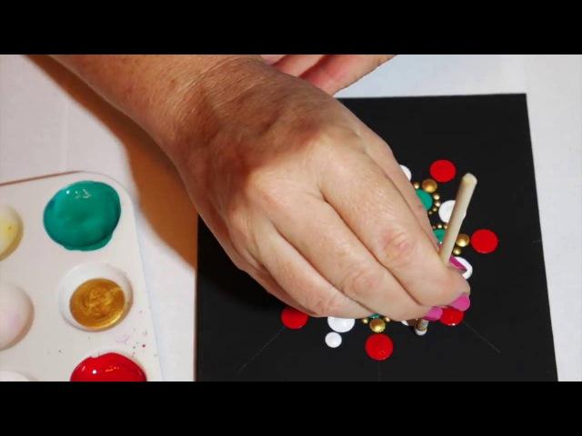 How to paint dot mandalas with Kristin Uhrig 4- Christmas design