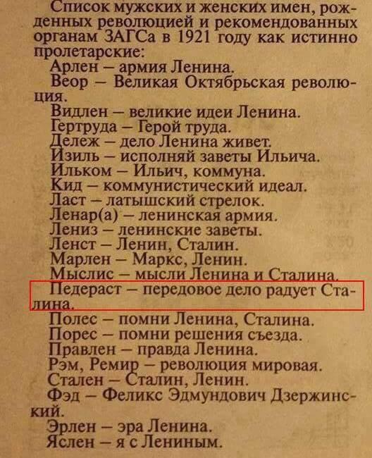 Список мужских и женских имён