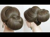 Bridal hairstyle. Classic updo for long medium hair tutorial