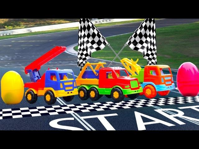Vidéo éducative pour enfants des véhicules. Compétition des camions