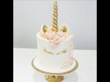 Ещё один вариант торта-единорога. Мастер-класс по декорированию современного торта