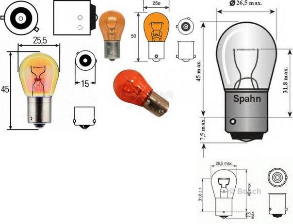 Лампа накаливания, фонарь указателя поворота; Лампа накаливания, противотуманная фара; Лампа накаливания, фонарь сигнала торможения; Лампа накаливания, задняя противотуманная фара для AUDI ALLROAD (4BH, C5)