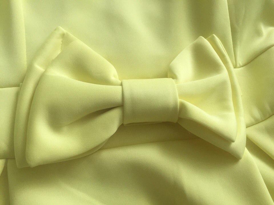 Кукольное желтое платье с бантом