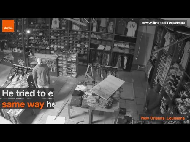 Грабитель залез в магазин через крышу, но не смог вылезти США 26.04.2017