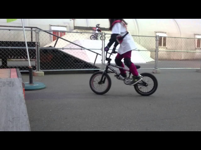 BMX Fakie riding 10 consecutive times success(8yr old girl) -女の子向けのBMXトリック(フェイキー編)-