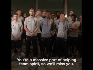 The #LFC squad say their goodbyes to Lucas Leiva87 from Hong Kong.  #ThanksLucas