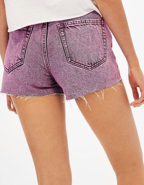 Джинсовые шорты с высокой посадкой с линялым эффектом