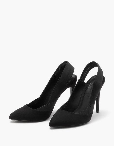 Туфли на шпильке без задника с эластичными вставками