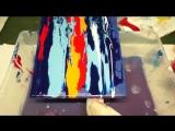 Fluid Acrylic Painting Ocean Sundown, Sunset Painting, Acrylmalerei Sonnenunterg
