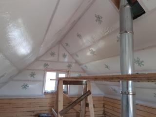 утепление потолка в бане с мансардой