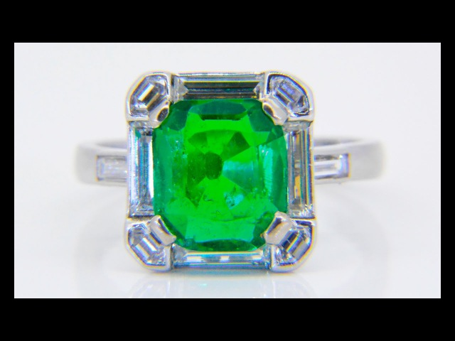 Art deco-style 3.2ct emerald diamond cluster ring www.jethromarles.co.uk
