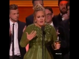 Adele when winning Album of the Year, speech for Beyonce. at 59th Grammy Awards