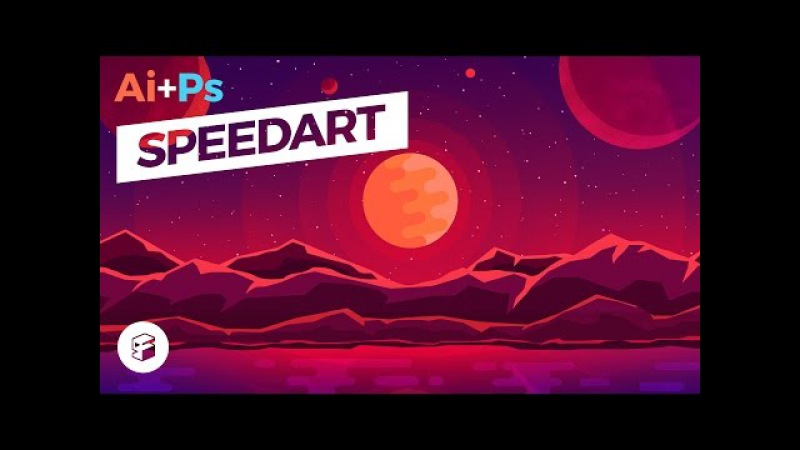 Fantasy Planet - Flat Design Illustration IllustratorPhotoshop SpeedArt