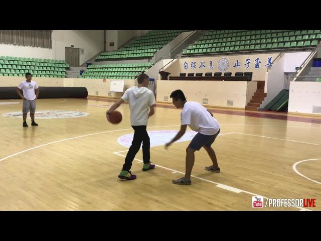 Professor hoops w/ staff of Rigorer at Xiamen University before a commercial shoot