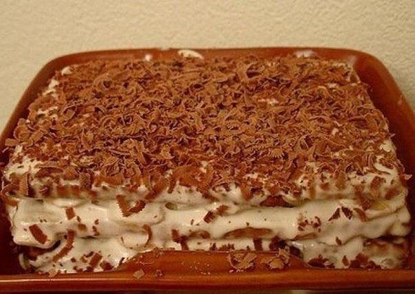 Торт из печенья с бананом на скорую