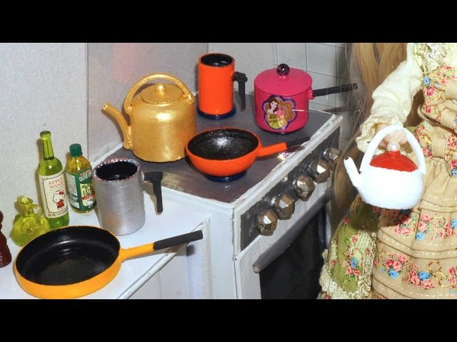 How to make cookware (teapot, frypan, kettle, milk pan) for doll (Monster High, Barbie, etc)