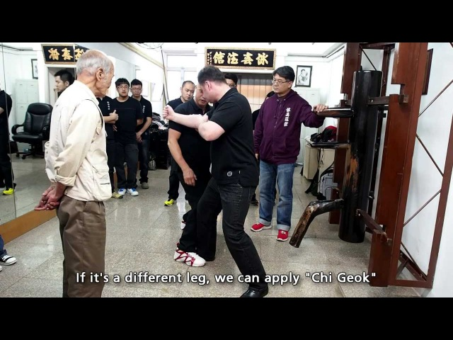 [Excerpt] Wing Chun, Ip Man, Chow Tse Chuen: Wooden Dummy and Kicking Techniques Demonstration