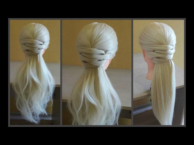 Легкая прическа для длинных средних волос 🌸Делается очень легко самой себе ❤